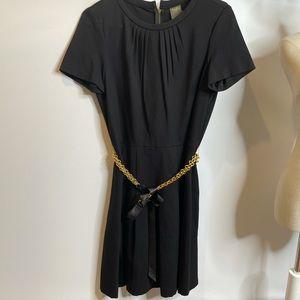 Taylor dress black stretchy chain gold belt 10 12